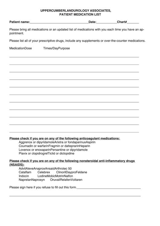 fillable patient medication list printable pdf download