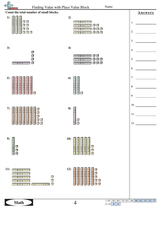 finding value with place value block worksheet with answer key printable pdf download. Black Bedroom Furniture Sets. Home Design Ideas