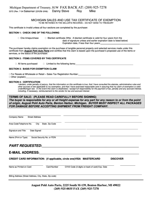 Top Michigan Sales Tax Form Templates free to download in PDF ...