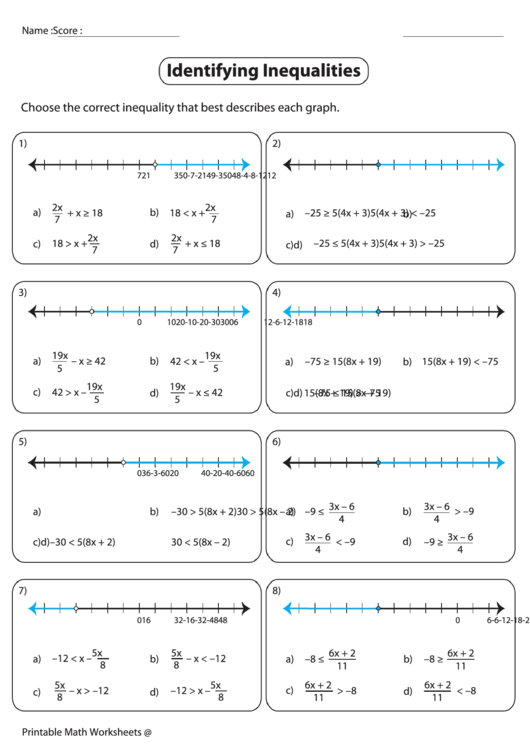 Identifying Inequalities Worksheet printable pdf download
