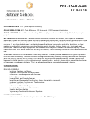 Pre Calculus Syllabus Template