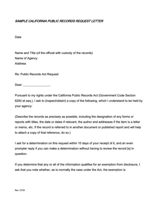 sample california public records request letter template printable pdf