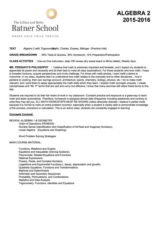 Algebra 2 Syllabus Printable pdf