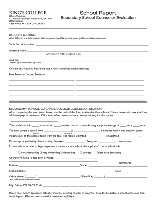 School Report Secondary School Counselor Evaluation - King