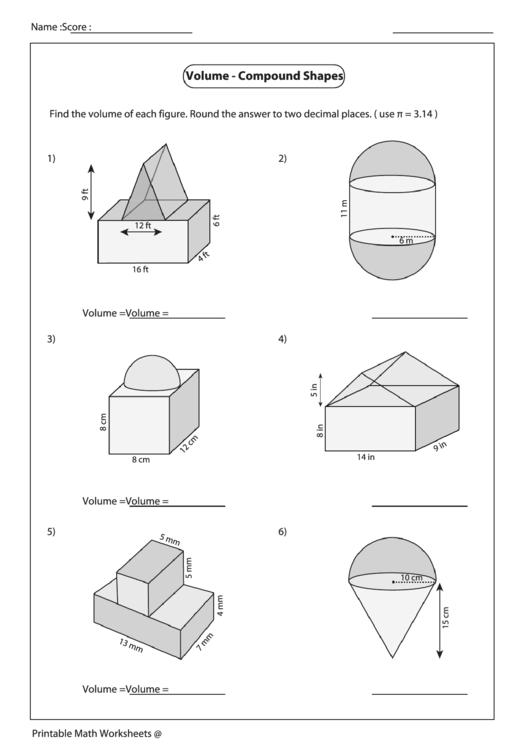 Volume Compound Shapes Worksheet Printable Pdf Download