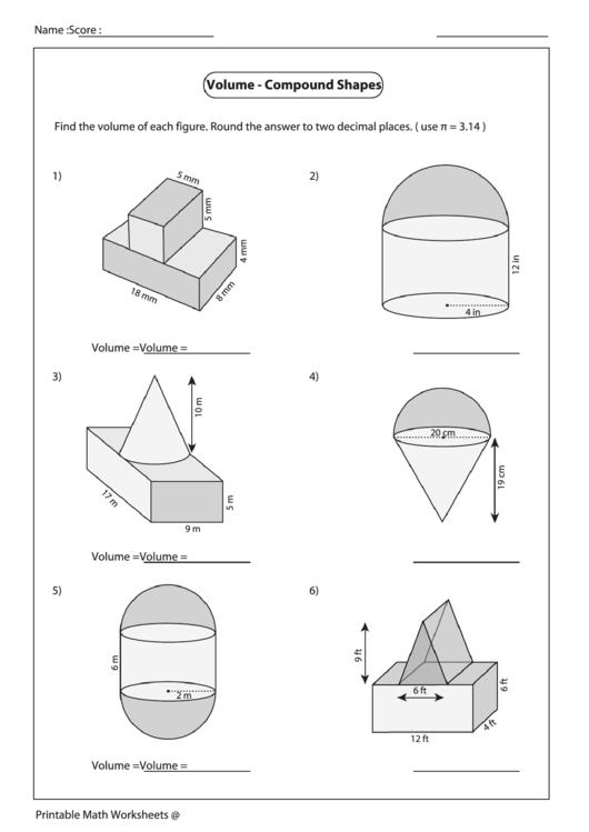 Volume - Compound Shapes Worksheet printable pdf download