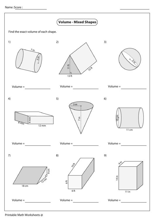 volume of shapes worksheet pdf