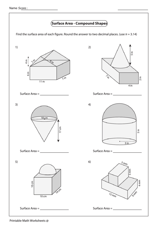 Surface Area Compound Shapes Worksheet Printable Pdf