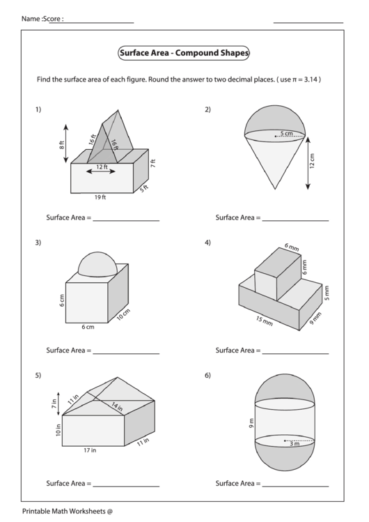Surface Area - Compound Shapes Worksheet printable pdf download