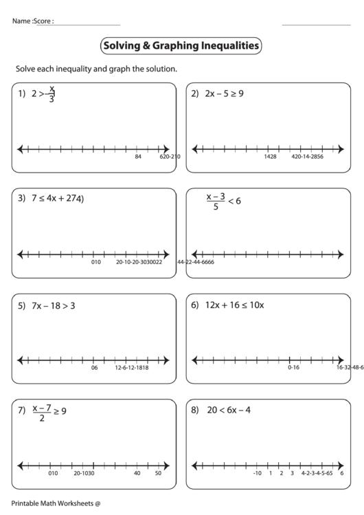 solving graphing inequalities worksheet - Graphing Inequalities Worksheet