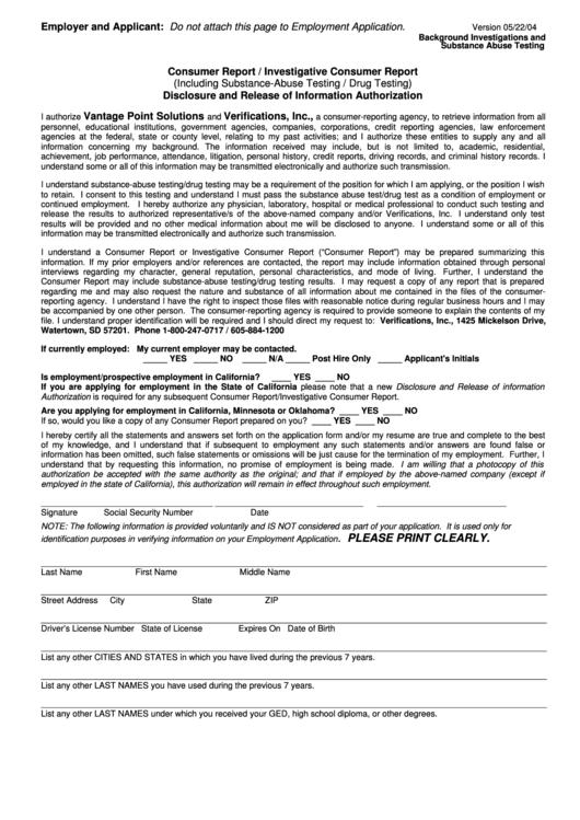 Consumer Report Form Investigative Consumer Report Form
