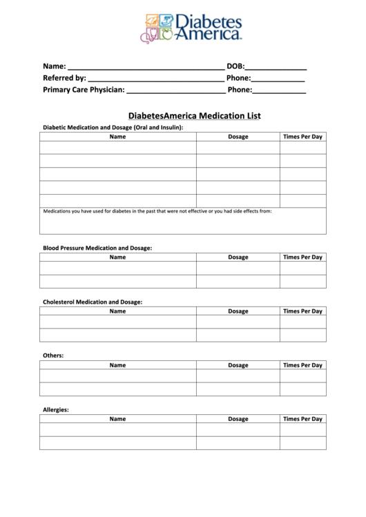 Diabetes America Medication List Printable Pdf Download