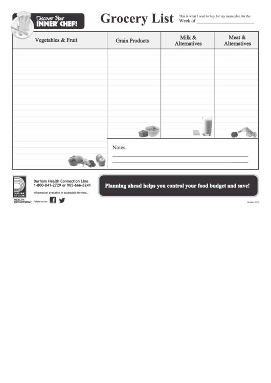 Grocery List Template Printable pdf