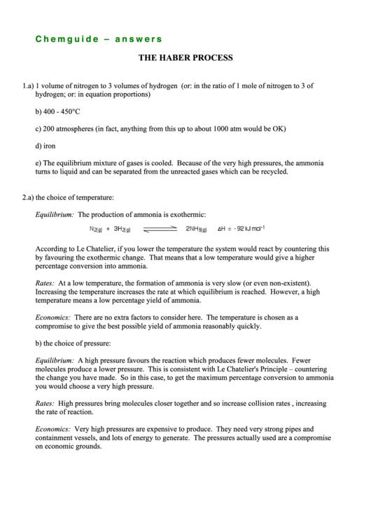 The Haber Process Worksheet printable pdf download