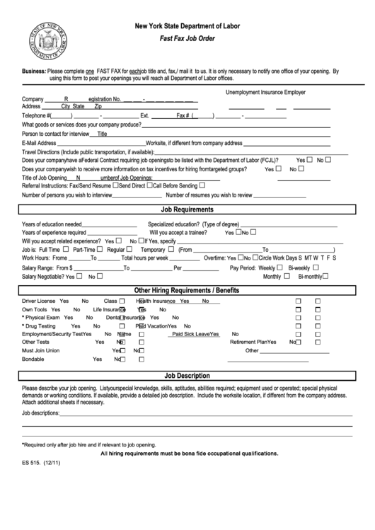 Form Es 515 - Fast Fax Job Order - New York State Department Of Labor