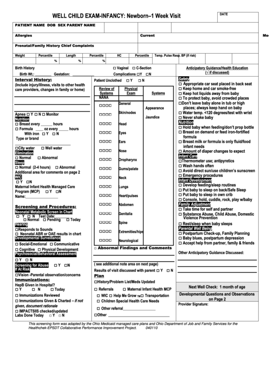 Well Child Exam Template Images Gallery >> 40 Fantastic Soap Note ...