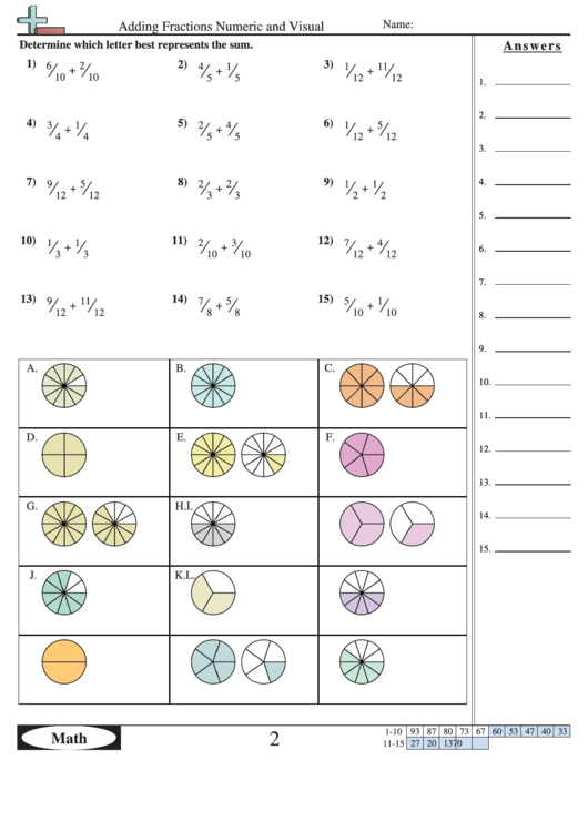 Adding Fractions Numeric And Visual Worksheet printable pdf download