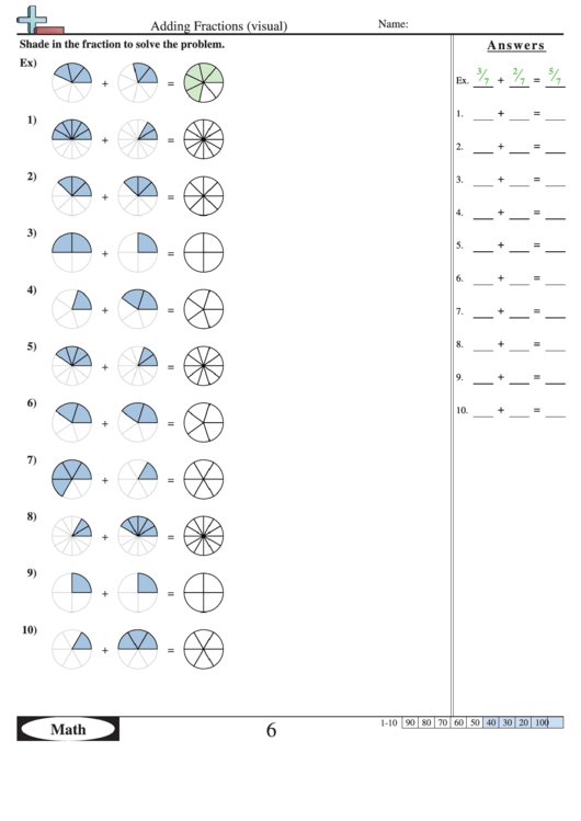 Adding Fractions (visual) Worksheet With Answer Key printable pdf ...