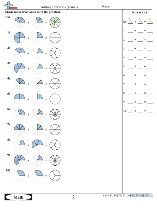 Adding fractions worksheet answers