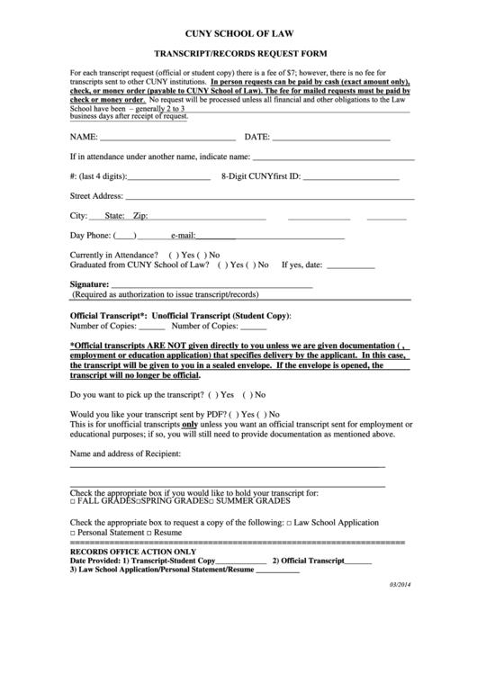 Transcript Records Request Form