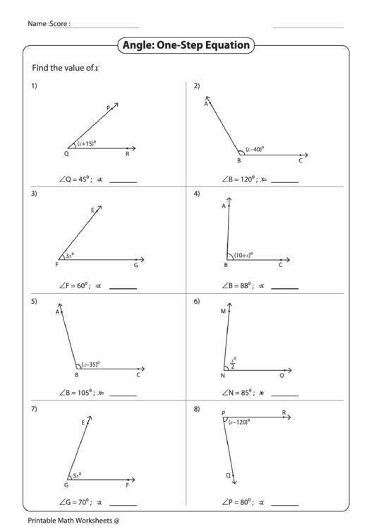 Angle Onestep Equation Worksheet Printable Pdf Download. Angle Onestep Equation Worksheet Printable Pdf. Worksheet. 1 Step Equations Worksheet At Clickcart.co