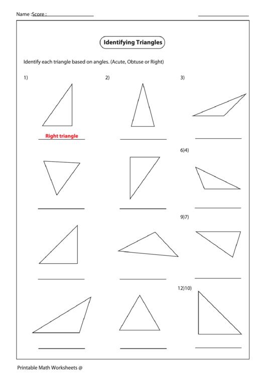 Identifying Triangles Worksheet Template Printable Pdf Download