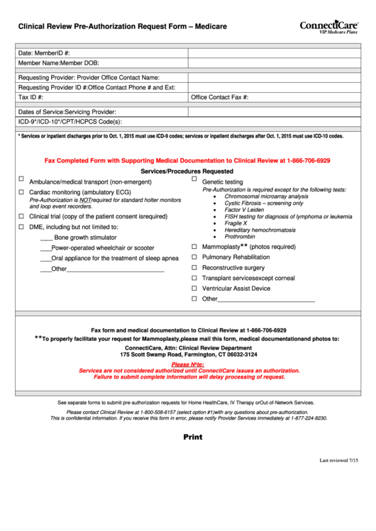 Clinical Review Pre-Authorization Request Form - Medicare Printable pdf