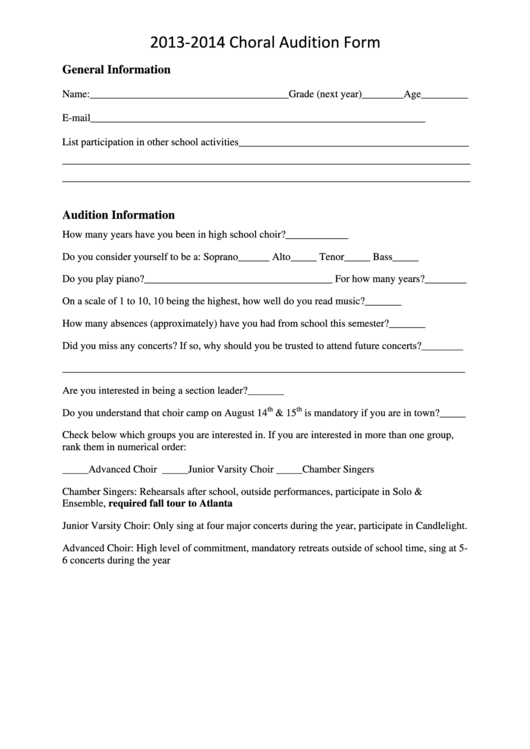 sample choral audition form page 2 of 2 in pdf. Black Bedroom Furniture Sets. Home Design Ideas