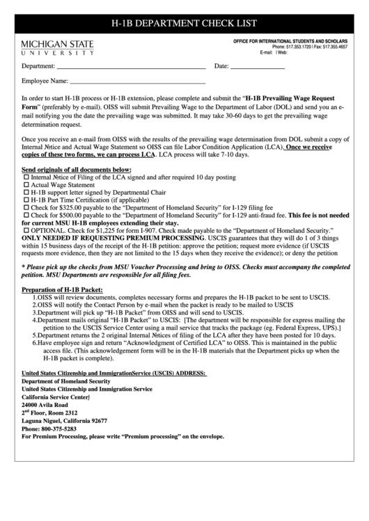 Msu H-1b Department Checklist