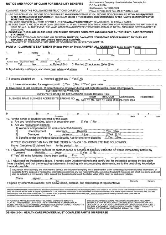 Db-450 Form - Notice And Proof Of Claim For Disability Benefits ...
