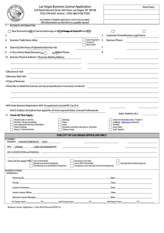 Form Bl001 - Business License Application