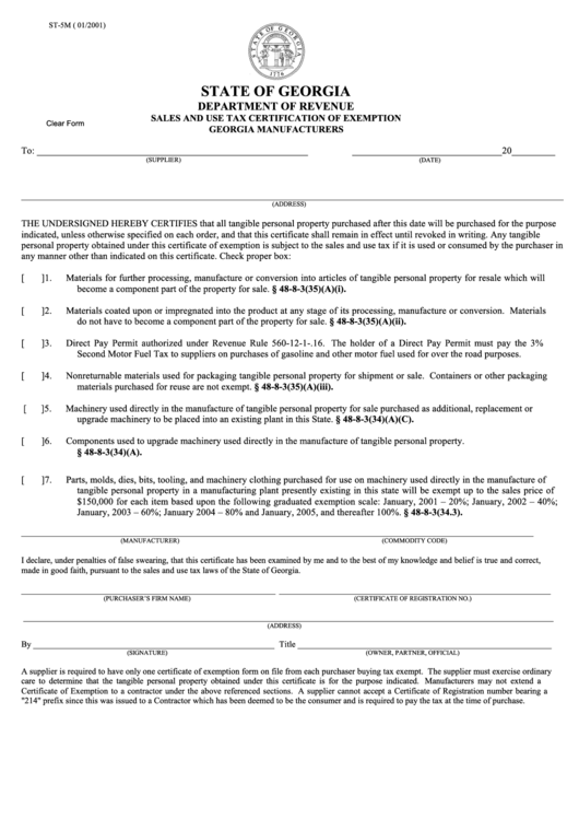 Fillable Form St 5m Sales And Use Tax Certification Of Exemption