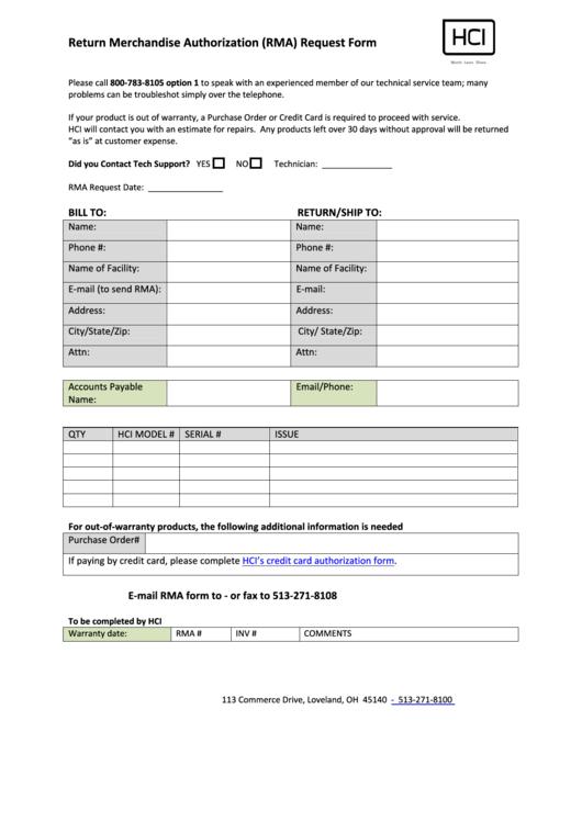 Hci Return Merchandise Authorization (rma) Request Form