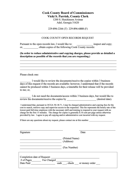 Cook County Open Records Request Printable Pdf Download