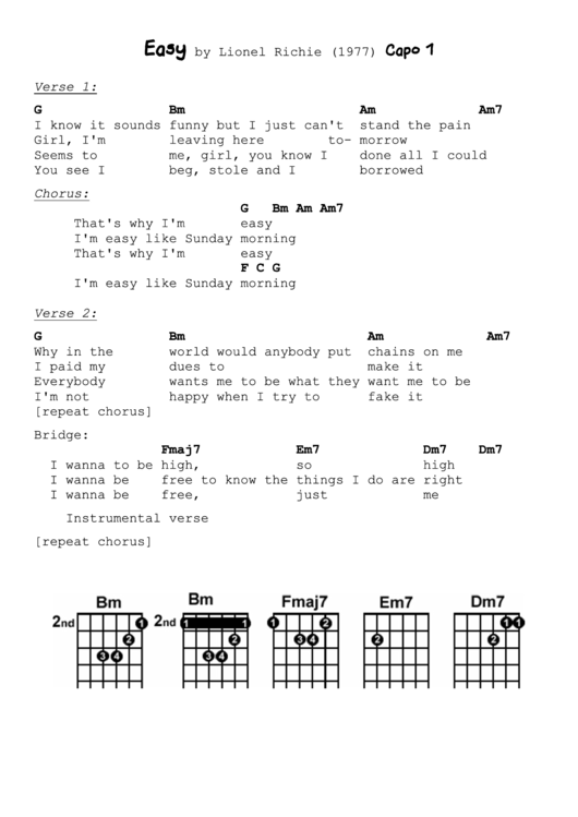 Easy By Lionel Richie printable pdf download
