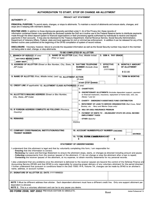 Dd Form 2558 - Authorization To Start, Stop Or Change An Allotment Printable pdf