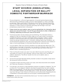 Start Divorce (dissolution), Legal Separation Or Nullity Domestic Partnership/marriage Form