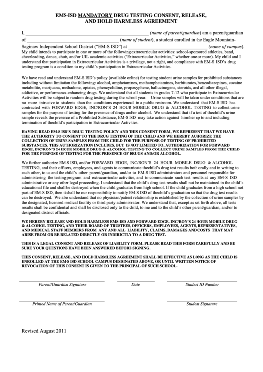 Ems-isd Mandatory Drug Testing Consent, Release, And Hold Harmless Agreement