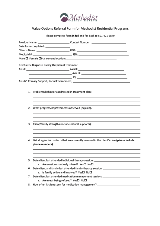 Value Options Referral Form For Methodist Residential Programs