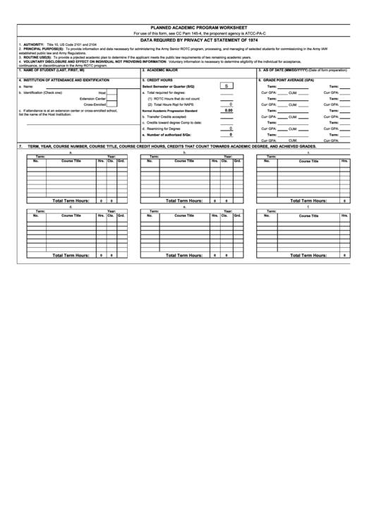 Planned Academic Program Worksheet Printable pdf