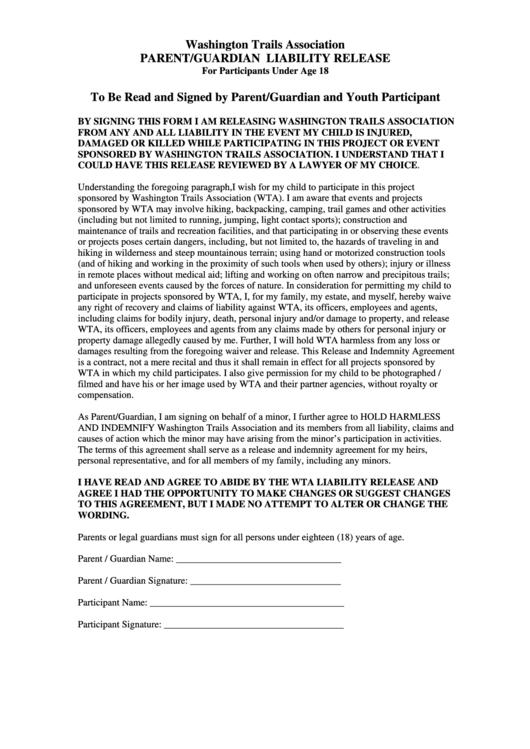 Parent/guardian Liability Release - Washington Trails Association