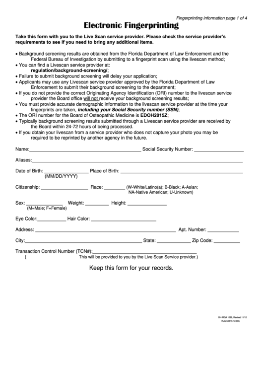 Electronic Fingerprinting Form - Florida Board Of Osteopathic Medicine Printable pdf