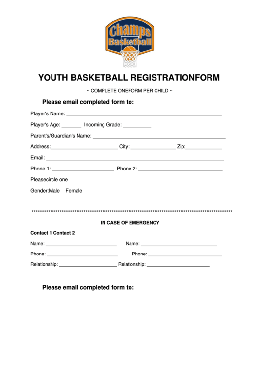youth basketball registration form printable pdf download. Black Bedroom Furniture Sets. Home Design Ideas