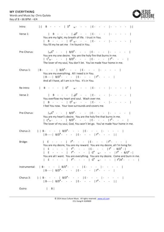 My Everything Worship Chord Charts Printable pdf