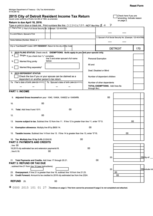 Form 5118 - City Of Detroit Resident Income Tax Return - 2015 ...
