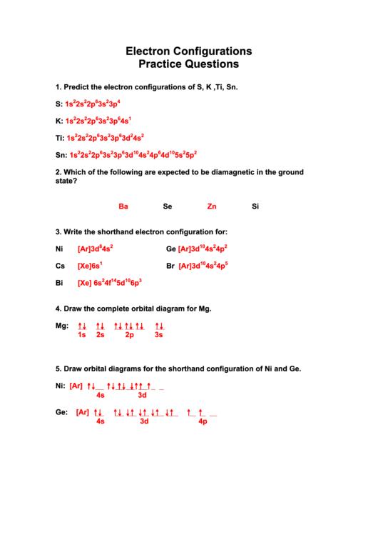 Electron Configurations Practice Questions Printable Pdf Download