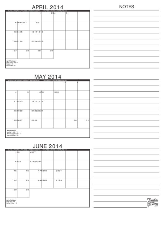 april may amp june 2014 calendar template printable pdf