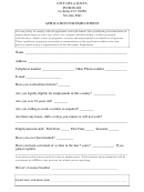 City General Employment Application Form