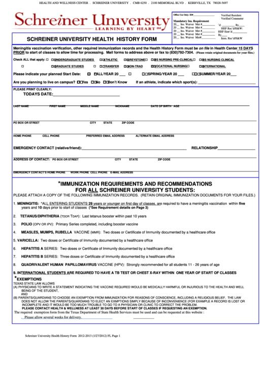 Schreiner University Health History Form