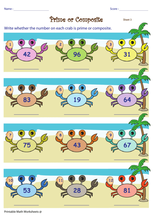 Crab Prime Or Composite Worksheet
